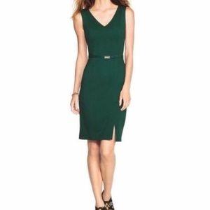 White House Black Market Hunter Green Sheath Dress